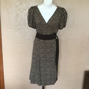 DVF Chocolate Brown Silk Wrap Dress 10 M